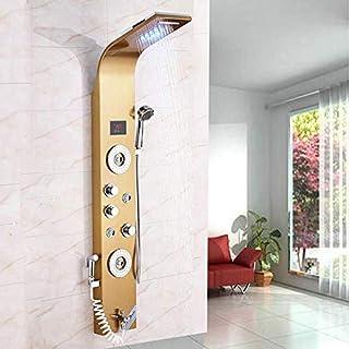 LED douchepaneel van roestvrij staal met bidet functie, 6 massagesproeiers en temperatuurweergave kleur: goud