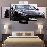 Cuadro Moderno en Lienzo , Conjunto de 5 Piezas para Salon Decoración 80x150 cm Aston Martin Tuning Vista frontal del coche negro Arte Pared Fotos Cuadros En Lienzo Lonas De Imprimir Modern Artwork