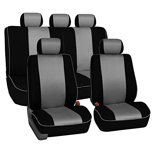 FH Group FH-FB063115 Full Set Sports Fabric Car Seat Covers, Airbag Compatible and Split Bench, Gray/Black Color- Fit Most Car, Truck, SUV, or Van