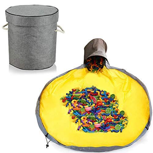 Aufräumsack Kinder, Aufbewahrungsbeutel für Kinderzimmer, Spieldecke Aufräumsack, Aufbewahrung Beutel Spielzeug, Aufbewahrungsbox mit Deckel, Spielzeug Aufbewahrung Tasche (grau)