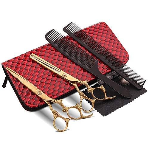 Best Bargain Trimming Scissors Gold 6 Inch Hairdressing Scissors Set, Household Flat Scissors + Toot...