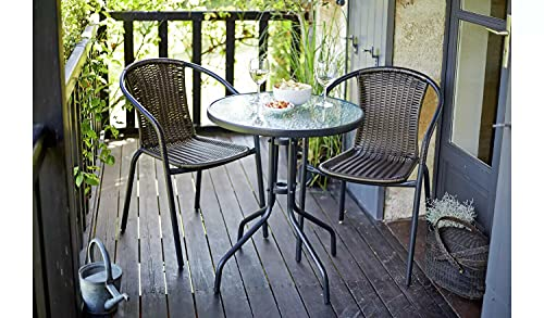 GSD Rattan 3 Piece Tasmania Bistro Garden Furniture Set Outdoor Patio Chairs And Steel Table For Al-Fresco Dining, BBQ's