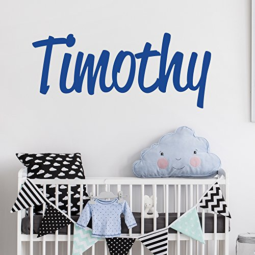 Personalized Custom Name Wall Decal for Baby Boy Nursery Room - Anti-Glare Large Matte Vinyl Monogram Lettering - Safe on Walls & Paint - Made in USA - Handmade to Order