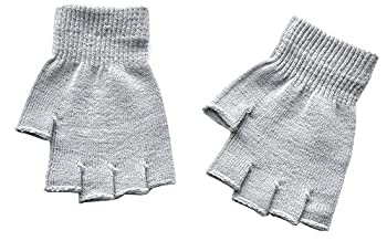 Boys and Girls Fingerless Gloves Winter Solid Knitted Texting Mitten 6  Length Light Gray