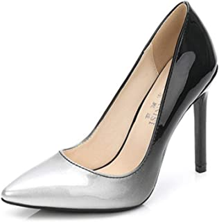 KTYXDE High-Heeled Women's Rubber Fashion Sexy Comfortable Breathable Shallow Shoes Single Shoes Work Shoes Spring and Summer 11CM 4 Colors Women's Shoes (Color : Silver, Size : EU39/UK6/CN39)