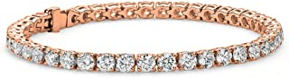 Olivia 18k Tennis Bracelet, Womens 18k Gold Plated Tennis Bracelet w/Cubic Zirconia Crystals, 7.5