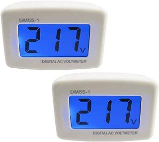 Yeeco 2 PCS Wall Flat US Plug LCD Digital Voltmeter Volt Panel Meter Voltage Tester Gauge AC 80-300V 110V 220V Voltage Measuring Monitor Volt Monitoring Measure Measurement Household Camper Voltage Te