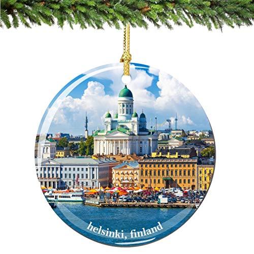Helsinki Finland Christmas Ornament, 2.75 Inch Porcelain Finland Christmas Ornaments