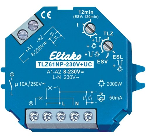 Eltako 2000613 Treppenlicht-Zeitschalter TLZ61NP-230V+UC f. Einbaumontage, blau, 2 x 6 x 9cm