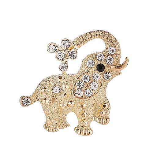 SOQNVLN Broschennadeln für Damen, Strass, Elefant, Tierbrosche, Anstecknadel, Anstecknadel, Schal, Abzeichen, Schmuck (Gold)