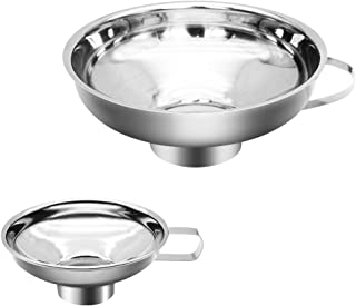 Canning Funnel, 2 Pack Stainless Steel Funnel Kitchen Funnel Set for Wide and Regular Mason Jars Canning Jars Transferring Liquid and Dry Ingredients