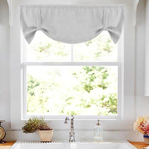 Tie-up Valance for Kitchen Windows Tie Up Curtains for Windows Room Darkening Curtain Adjustable Balloon Window Shades, Rod Pocket, 20