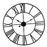 ENCOFT Reloj de Pared Decorativo Vintage Reloj Cologado con Mecanismo Silencioso Decoración para Habitación Dormitorio Oficina Bar (Negro, 50 cm)