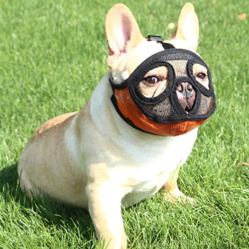 YUESEN Short Snout Dog Muzzle - Adjustable Breathable Mesh Bulldog Muzzle for Barking Biting Chewing Training (L, Orange)