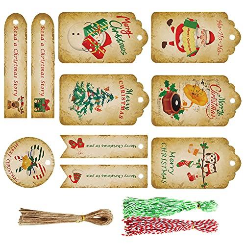 Etiquetas Etiquetas de suspensión Muñeco de Nieve Etiquetas de la Tarjeta de Papel Kraft con la Cuerda Decoración para niños Regalos para Adultos 150sets