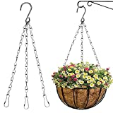 4Pcs Hanging Basket Chains, Silver Plant Hangers Chains for Hanging Baskets, Wire Hanging Baskets for Plants, Flower Pot Basket Hangers for Outside Plants Chain (16 Inch 3 Leads)