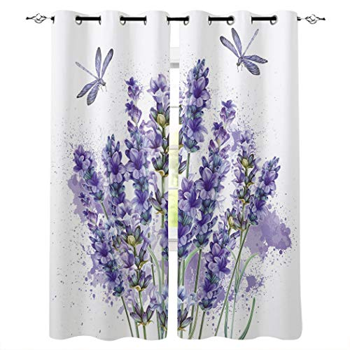Red Vow Blackout Curtains for Bedroom-Room Darkening Insulated Curtains,Purple Lavender Dragonfly Chic Grommet Window Drapes for Sliding Glass/Patio Door Set of 2 Panels,52'x63'