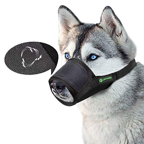ILEPARK Respirable Bozal de Nylon para Perros Suave Permite Beber, Jadear Bozal Lazo Ajustable (S,Negro)