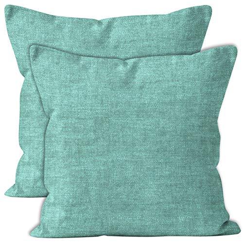 Encasa Homes Almohadas de Chenilla de Juego de 2 Piezas - Azul Cielo - 50 x 50 cm Color sólido Texturizado, Suave y Liso, Acento Cuadrado Cojín para el sofá, el sofá, la Silla