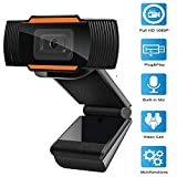 1080P Webcam Full HD USB Webcam with Microphone Widescreen Video Calling and Recording Camera Auto focus 1080P Webcam for Laptop Skype PC Windows
