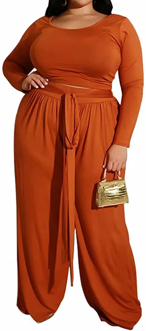 Women's Plus Size 2 Piece Outfit Scoop Sleeve Sexy Los Angeles Popular popular Mall Cro Neck Long