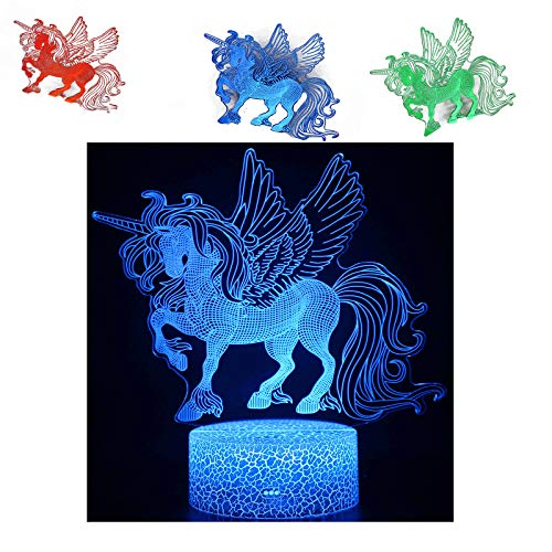 Cdycam Unicorn Gifts Night Lights, 3D Optical Illusion LED Lamps, 16 Colors+7 Colors Changing,Touch&Remote Control,Best Unicorn Toys Birthday Gifts for Girls