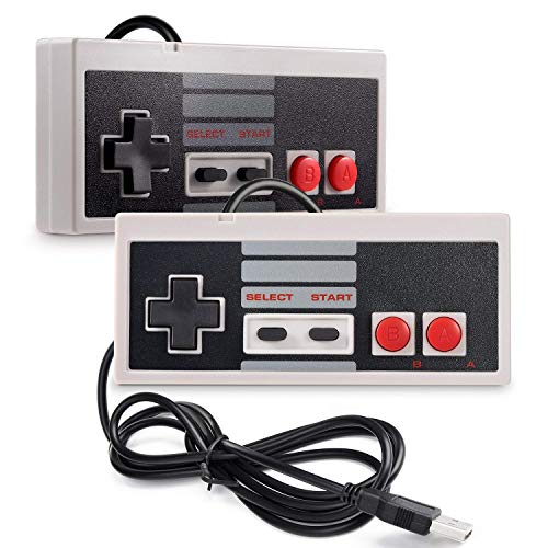 AMAZING1 Pack of 2 NES Controllers USB Retro Gaming Joypads for PC Computer MAC Raspberry Pi Wii U