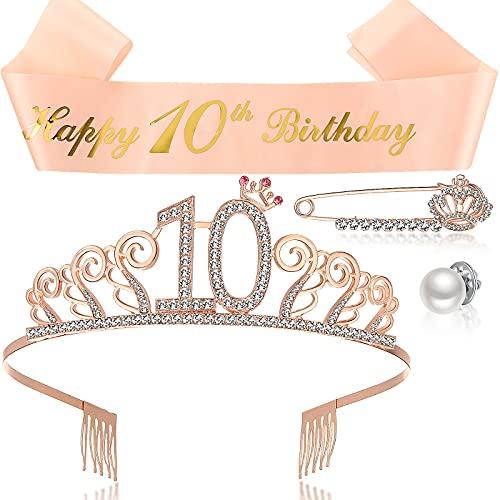 10. Geburtstag Tiara und Schärpe 10. Geburtstag Geschenk Mädchen Kristall Tiara 10. Geburtstag Rosa Strass Krone 10. Geburtstag Rosa Schärpe Perle Verschluss Schnalle Rosegold Brosche Pin