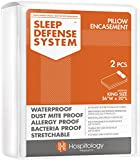 HOSPITOLOGY PRODUCTS Sleep Defense System - Zippered Pillow Encasement - King - Hypoallergenic Protector - Waterproof - Bed Bug & Dust Mite Proof - Set of 2-20' H x 36' W