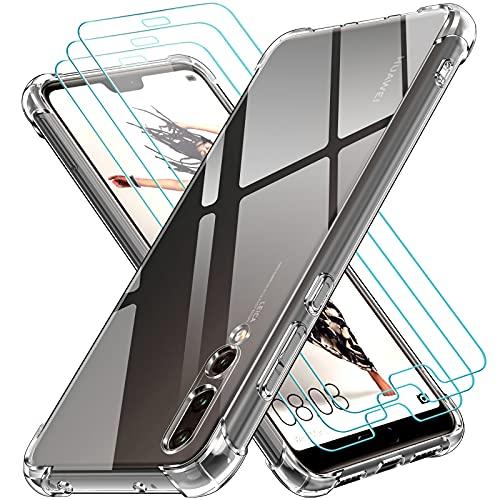 iVoler Custodia Cover per Huawei P20 PRO + 3 Pezzi Pellicola Protettiva in Vetro Temperato, Ultra Sottile Morbido TPU Trasparente Silicone Antiurto Protettiva Cover Case