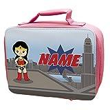 Personalised <span class='highlight'>Superhero</span>es GIRLS Lunch Bag PINK
