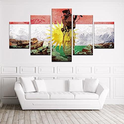 COCOCI 5 Panel Leinwand Bild 5 Teilig Kurdistan Soldat Flagge HD-Druck Vlies Leinwandbild 5 TLG Kunstdruck Modern Wandbilder Leinwand Bilder Fotoleinwand FüR Zuhause Wandbilder Wohnzimmer Modern