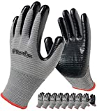 Coated Work Gloves Firm Grip, 8-Pair Pack, General Purpose, Utility Work and Construction, Rubber Work Gloves for Men and Women (Size Medium, Grey)