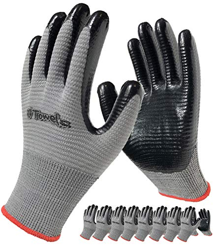 Nitrile Coated Work Gloves, 8-Pair Pack, Firm Grip Safety Gloves for General Purpose Repair and Construction, Men and Women (Size Large Fits Most, Grey)