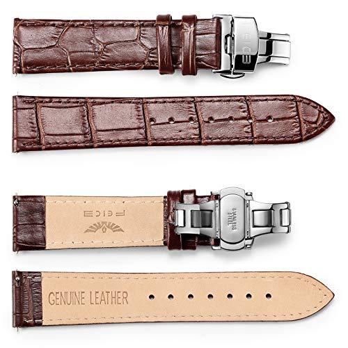 FEICE Lederarmbänder für Bauhaus Automatikuhr Faltschließe Uhrenarmband Klassisches Prägung Ersatz Armbänder (20mm, Braun)