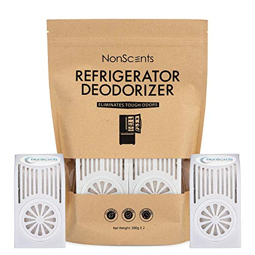 Refrigerator Deodorizer - Fridge and Freezer Odor Eliminator - Outperforms Baking Soda (2-Pack)