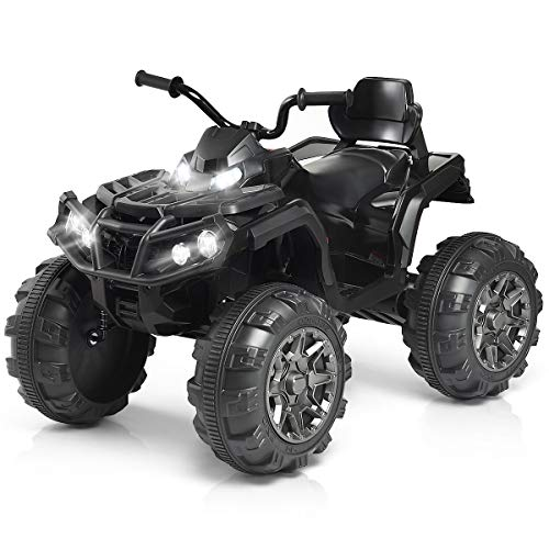 Costzon Kids Ride On ATV, 12V Battery Powered 4 Wheels Quad w/Spring Suspension, High/Low Speeds, Headlights, MP3, Horn, TF, USB, Radio Functions, Electric Vehicle for Boys and Girls (Black)