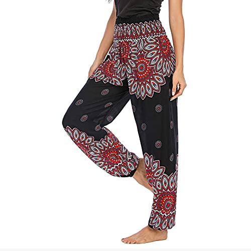 Taurner Pantalones Anchos Mujer Pantalones Baggy Comodo Harem Hippies Vintage Boho Flores Verano Alta Cintura Elastica Casual Danza Pantalón Indios Yoga Pants Verano Playa