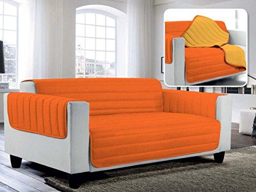 Italian Bed Linen Copridivano Trapuntato in Microfibra Anallergica, Doubleface, 100% Cotone, Multicolore, Matrimoniale, 4 Posti