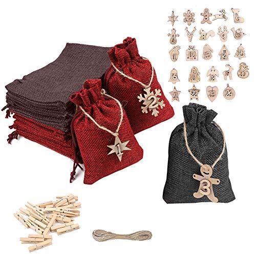 Nsiwem Calendario Adviento Navidad Bolsas de Regalo Navidad Bolsas Calendario de Yute Bolsas de Tela Navideñas con 24 Números de Madera para Rellenar con Calendario de Adviento Casero
