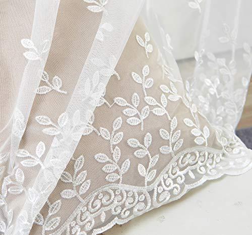 M&W DasDesign Cortina transparente de tela con ojales para salón, dormitorio, hojas, flores, bordado, para protección solar y visual, 140 x 245 cm, color blanco (1 unidad)
