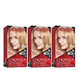 Revlon Colorsilk Beautiful Color, Permanent Hair Dye with Keratin, 100% Gray Coverage, Ammonia Free, 71 Champagne Blonde (Pack of 3)