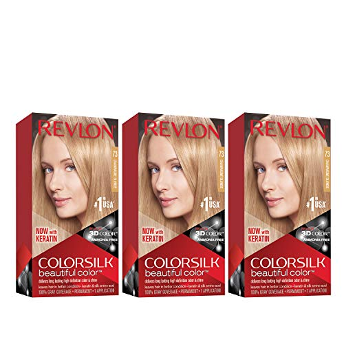 Revlon Colorsilk Beautiful Color Permanent Hair Color with 3D Gel Technology & Keratin, 100% Gray Coverage Hair Dye, 73 Champagne Blonde, 4.4 oz (Pack of 3)