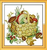 Mjxxxlsd Kit de punto de cruz para bordado de costura, para restaurante cocina, cesta de setas (2)-11CT