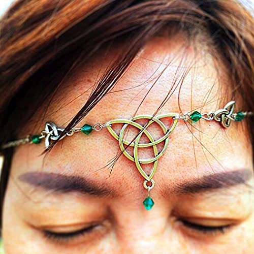 Brinote Boho Crystal Head Chain Jewelry Silver Hollow Goddess Headpieces Knot Beads Headband Halloween Vintage Hair Accessories for Women and Girls (Green)