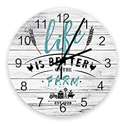 ZOE STORE Modern Wall Clock, Wooden Texture Farm Livestock and Crop Wooden, Silent Non Ticking Art Noiseless Round Wall Clock Diameter 11.8''