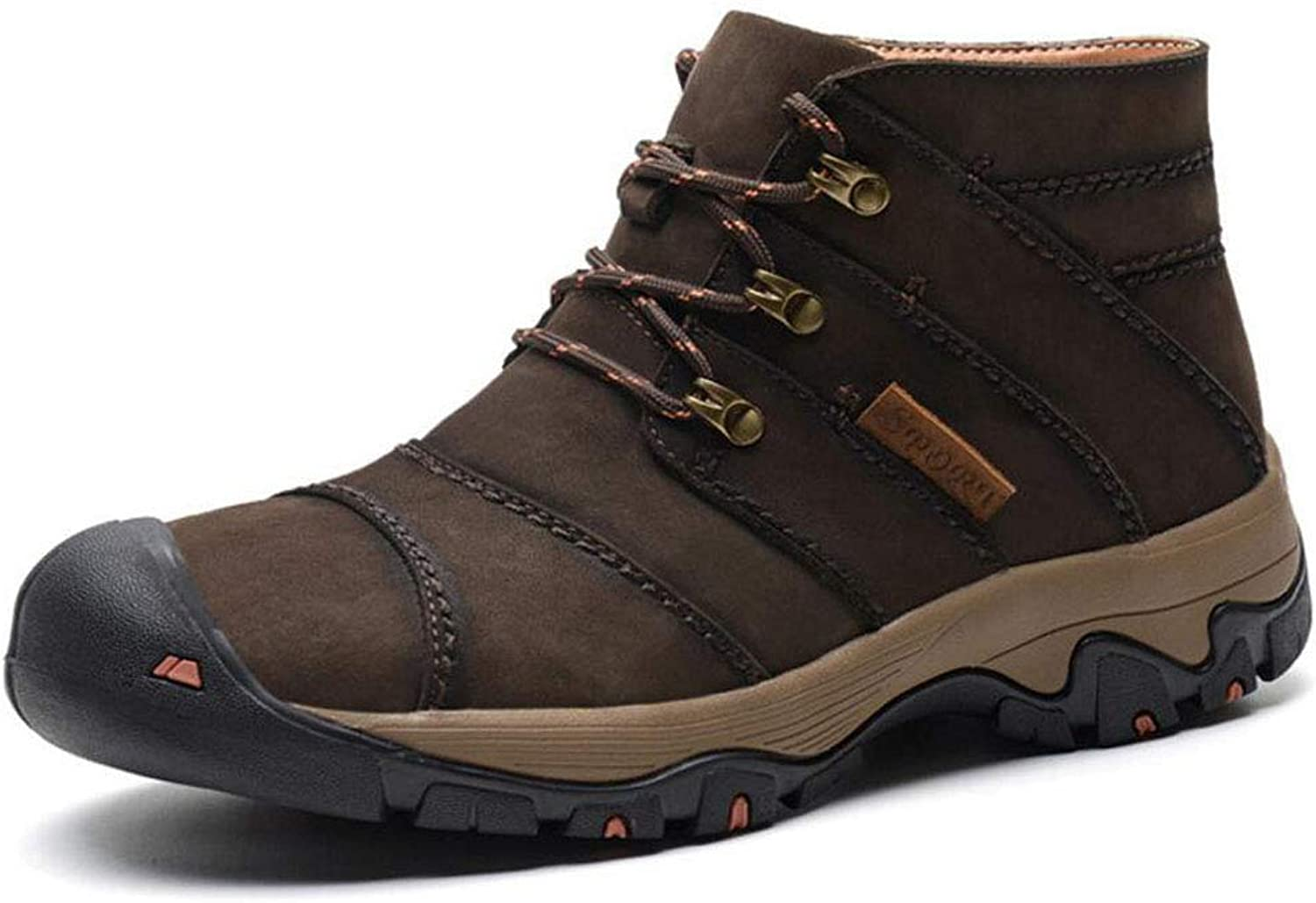 Men's Hiker Leather Waterproof Hiking Boot Outdoor Backpacking shoes Large Size For All Seasons