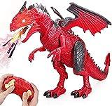 Baztoy Dinosauro Telecomandato, Giochi Animali Drago Giocattolo per Bambini con Funzione di Vruggito...