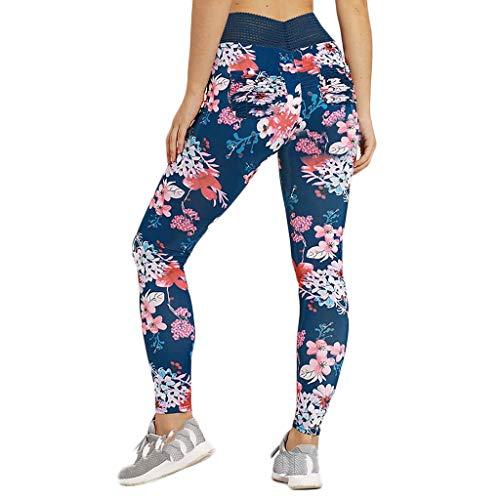 FELZ Pantalones de Yoga Mujer Casual Leggings Deportes Pantalones para Mujeres Floral Estampado 3D Imprimir Fitness Gym Yoga de Cintura Alta Deportivos Skinny Mallas Leggings Elasticos Mujer Gimnasio