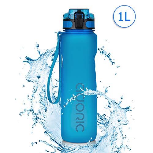 Adoric Sport Trinkflasche, [BPA Frei Tritan] 1L Auslaufsicher Kunststoff Wasserflasche Sport, Sportflasche Fahrrad für Camping Freien, Outdoor, Yoga, Gym,Blau